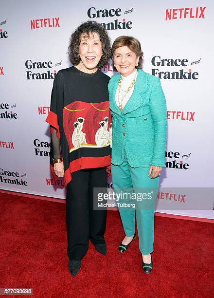 Actress Lily Tomlin and attorney Gloria Allred attend the premiere of Season 2 of the Netflix Original Series Grace Frankie at Harmony Gold on May 1...