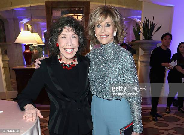 Actress Lily Tomlin and honoree Jane Fonda attend Equality Now's third annual Make Equality Reality gala on December 5 2016 in Beverly Hills...