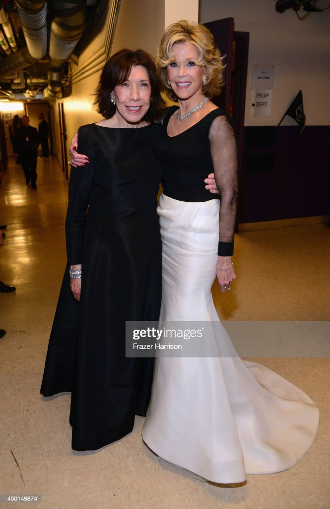 Actress Lily Tomlin (L) and honoree Jane Fonda attend the 2014 AFI Life Achievement Award: A Tribute to Jane Fonda at the Dolby Theatre on June 5, 2014 in Hollywood, California. Tribute show airing Saturday, June 14, 2014 at 9pm ET/PT on TNT.