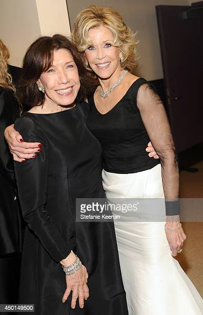 Actress Lily Tomlin and honoree Jane Fonda backstage during the 2014 AFI Life Achievement Award A Tribute to Jane Fonda at the Dolby Theatre on June...