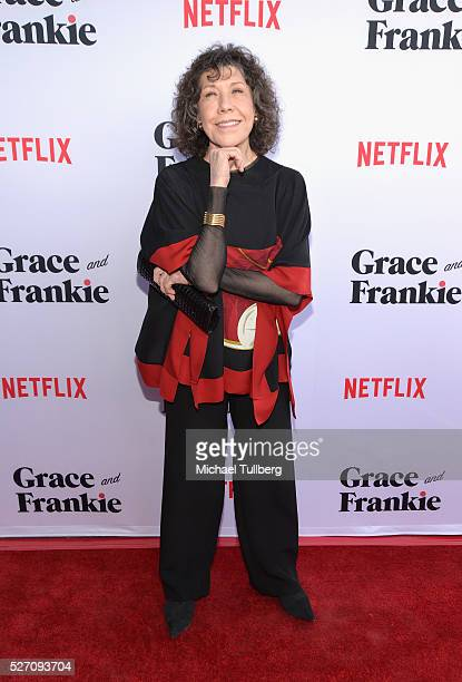 Actress Lily Tomlin attends the premiere of Season 2 of the Netflix Original Series Grace Frankie at Harmony Gold on May 1 2016 in Los Angeles...