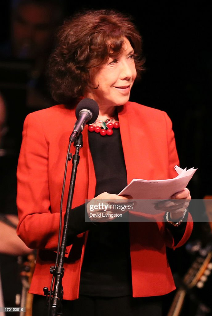 Actress Lily Tomlin performs during A Prairie Home Companion taping at the Greek Theatre on June 7, 2013 in Los Angeles, California.