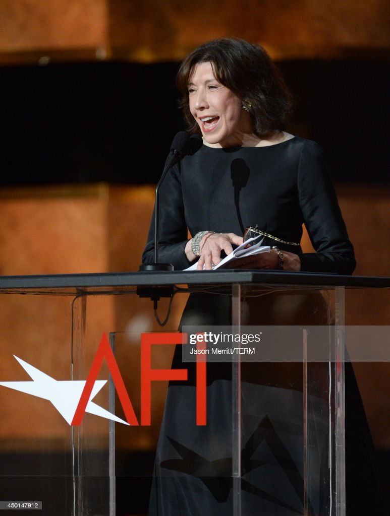 Actress Lily Tomlin speaks onstage during the 2014 AFI Life Achievement Award: A Tribute to Jane Fonda at the Dolby Theatre on June 5, 2014 in Hollywood, California. Tribute show airing Saturday, June 14, 2014 at 9pm ET/PT on TNT.