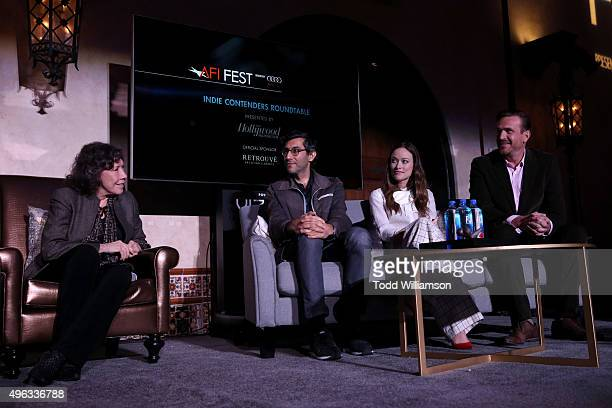 Actress Lily Tomlin, writer Ramin Bahrani and actors Olivia Wilde and Jason Segel speak onstage at 'Indie Contenders Roundtable presented by The...