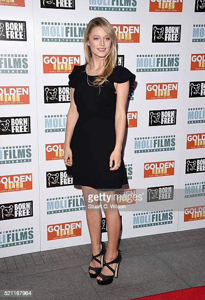"""Actress Lily Travers attends the UK film premiere of """"Golden Years"""" at the Odeon Tottenham Court Road on April 14, 2016 in London, England."""