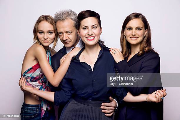 Actress LilyRose Depp actor Emmanuel Salinger director Rebecca Zlotowski and actress Natalie Portman from the film Planetarium pose for a portraits...
