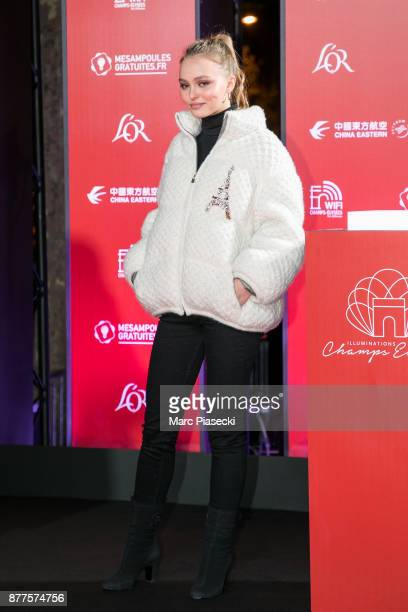 Actress LilyRose Depp attends the Christmas lights launch on the ChampsElysees avenue on November 22 2017 in Paris France