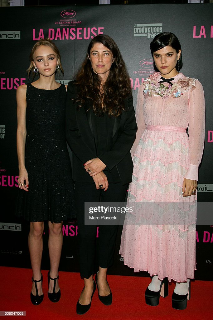 Actress Lily-Rose Depp, director Stephanie Di Giusto and actress Stephanie Sokolinski a.k.a. SoKo attend the 'La Danseuse' Premiere at Cinema Gaumont Opera on September 19, 2016 in Paris, France.