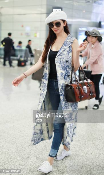Actress Lin Chiling is seen at Shanghai Hongqiao International Airport on May 9 2019 in Shanghai China