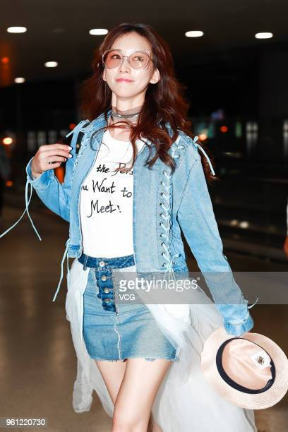 Actress Lin Chiling is seen at Shanghai Hongqiao International Airport on May 21 2018 in Shanghai China