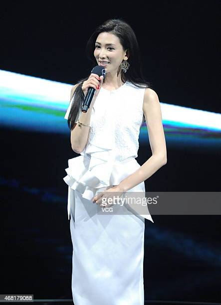 Actress Lin Chiling shows at the RanFan Collection show as part of MercedesBenz China Fashion Week Autumn/Winter Collection at Phoenix Center on...
