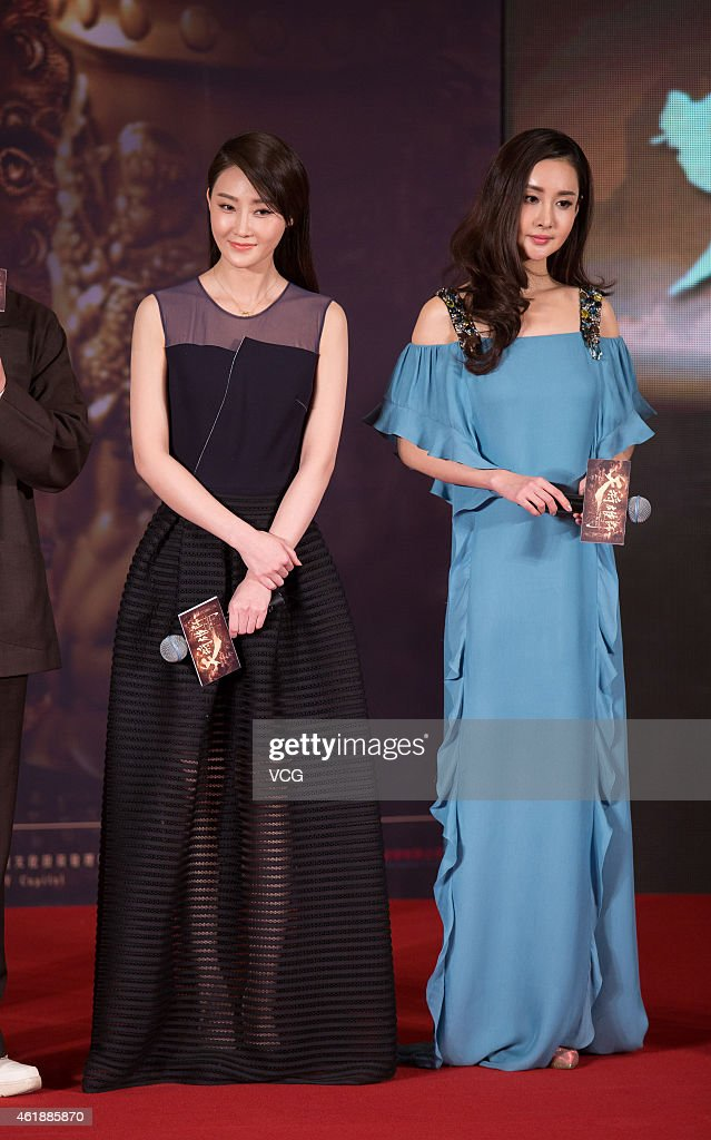 Actress Lin Peng and actress Wang Ruoxin attend director Daniel Lee's film 'Dragon Blade' press conference on January 21, 2015 in Beijing, China.