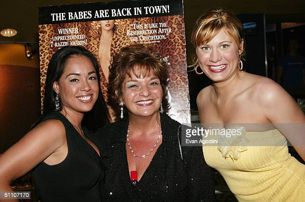 Actress Lin Tucci poses with Nilsa and Heather from Scores Gentlemens Club at a special screening of Showgirls to celebrate the VIP limited edition...
