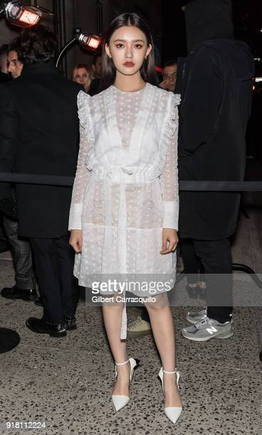 Actress Lin Yun AKA 'Jelly Lin' is seen arriving at the Calvin Klein Collection during New York Fashion Week at New York Stock Exchange on February...
