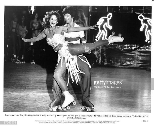 Actress Linda Blair and actor Jim Bray on set of the United Artist movie Roller Boogie in 1979