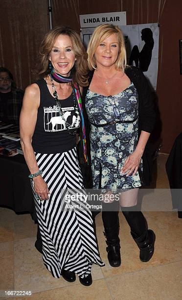 Actress Linda Blair and actress Ginger Lynn attend 2013 Monsterpalooza held at The Burbank Marriott Hotel Convention Center on April 13 2013 in...