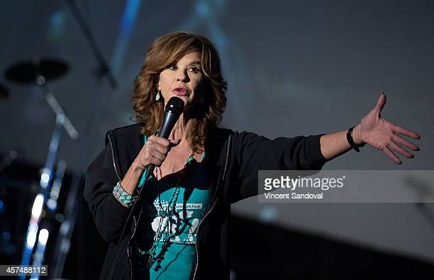 Actress Linda Blair hosts Street Food Cinema screening of The Exorcist at Eagle Rock Recreation Center Field on October 18 2014 in Los Angeles...