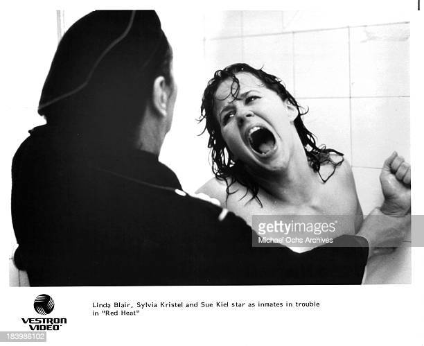 Actress Linda Blair on set of the movie Red Heat in 1985