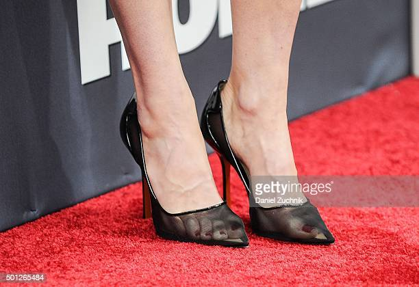 Actress Linda Cardellini heels detail attends the Daddy's Home New York premiere at AMC Lincoln Square Theater on December 13 2015 in New York City