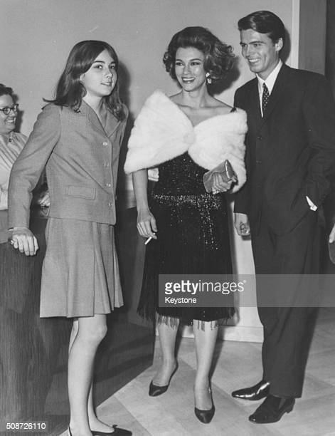 Actress Linda Christian and her daughter Romina Power with actor Douglas Travis at the gala performance of 'Romeo and Juliet' by Franco Zeffirelli at...
