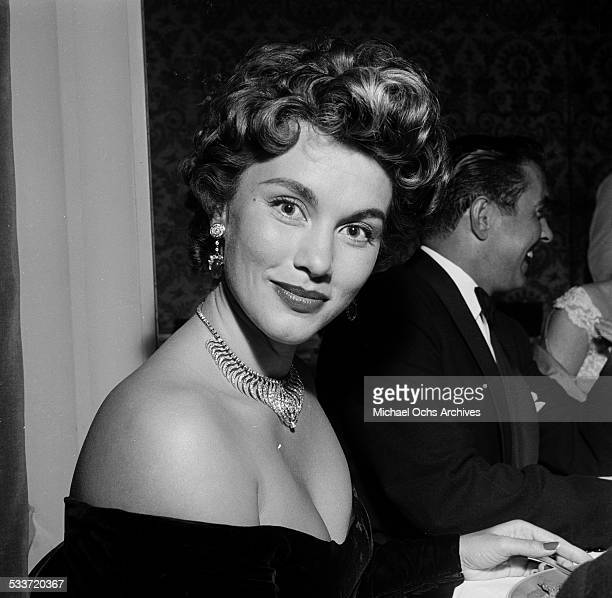 Actress Linda Christian with husband Tyrone Power attend Jack Benny's wedding in Los AngelesCA