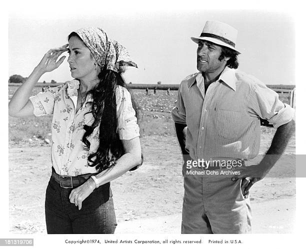 Actress Linda Cristal and actor Alejandro Rey on set of the United Artist movie Mr Majestyk in 1974