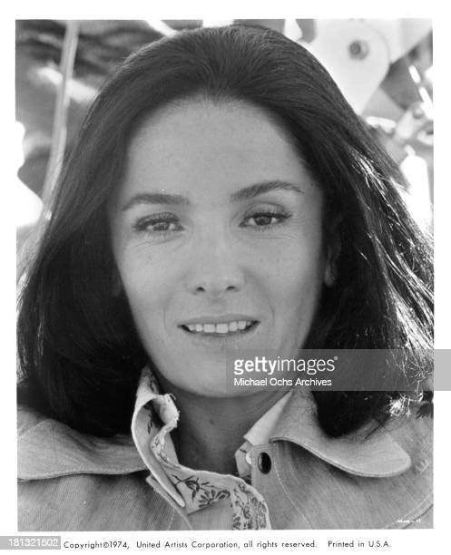 Actress Linda Cristal poses on set of the United Artist movie Mr Majestyk in 1974
