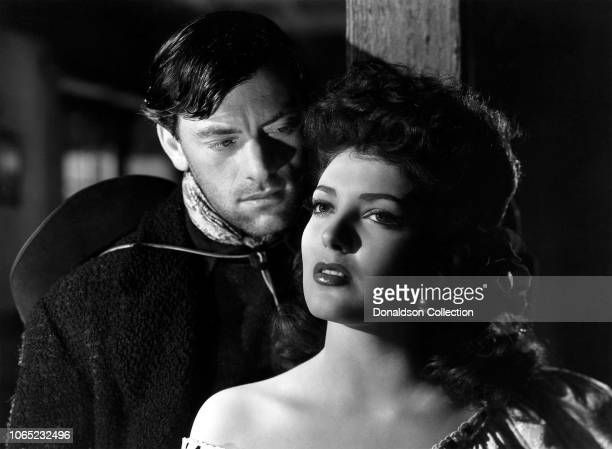 Actress Linda Darnell and John Ireland in a scene from the movie My Darling Clementine