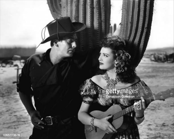 Actress Linda Darnell and Victor Mature in a scene from the movie My Darling Clementine