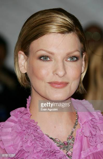 Actress Linda Evangelista attends the Metropolitan Museum of Art Costume Institute Benefit Gala Anglomania at the Metropolitan Museum of Art May 1...