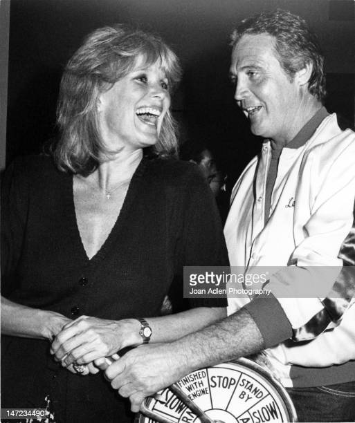 Actress Linda Evans and Actor Lee Majors clown around at a celebration of an unprecedented cruise of The Love Boat sailing to Hong Kong Japan and...