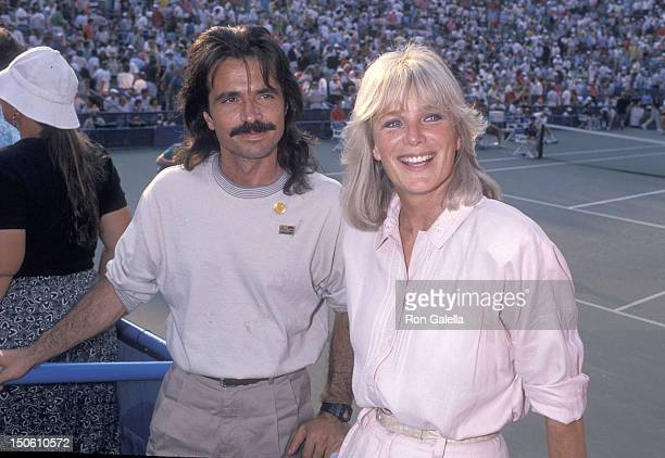 Actress Linda Evans and musician Yanni attend the 1989 US Open Tennis Men's Singles Final Boris Becker vs Ivan Lendl on September 10 1989 at the USTA...