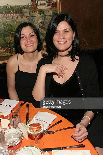 Actress Linda Fiorentino and a guest attend Entertainment Weekly's Oscar Viewing Party at Elaine's February 27 2005 in New York City