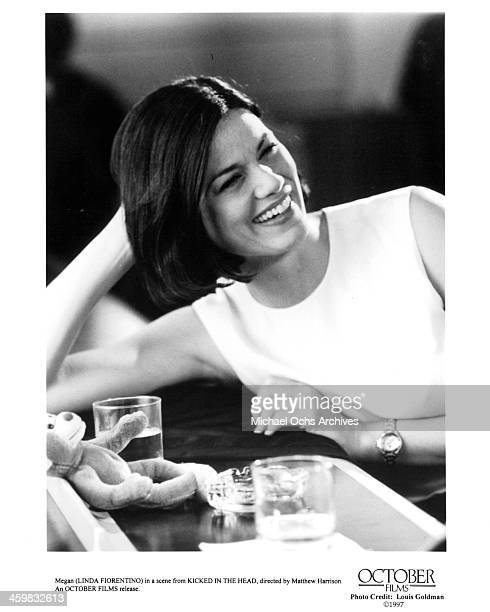 Actress Linda Fiorentino on set of the movie Kicked in the Head circa 1997