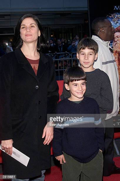 Actress Linda Fiorentino with her sons at the NY Premiere of 'Harry Potter and the Sorcerer's Stone' at the Ziegfeld Theatre in New York City Photo...