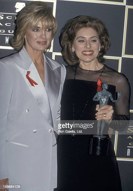 Actress Linda Gray and Merel Poloway attend the First Annual Screen Actors Guild Awards on February 25 1995 at Universal Studios in Universal City...