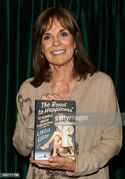 Actress Linda Gray signs copies of her new book 'The Road To Happiness Is Always Under Construction' at Vroman's Bookstore on June 25 2016 in...