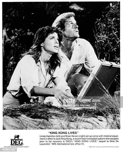 Actress Linda Hamilton and actor Brian Kerwin the movie 'King Kong Lives ' circa 1986