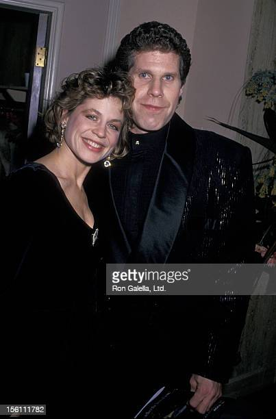 Actress Linda Hamilton and actor Ron Perlman attend 45th Annual Golden Globe Awards on January 23 1988 at the Beverly Hilton Hotel in Beverly Hills...