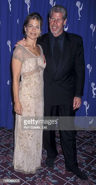 Actress Linda Hamilton and actor Ron Perlman attending 49th Annual Creative Arts Emmy Awards on September 7 1997 at the Pasadena Civic Auditorium in...