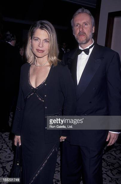Actress Linda Hamilton and director James Cameron attend 50th Annual Director's Guild of America Awards on March 7 1998 at the Century Plaza Hotel in...