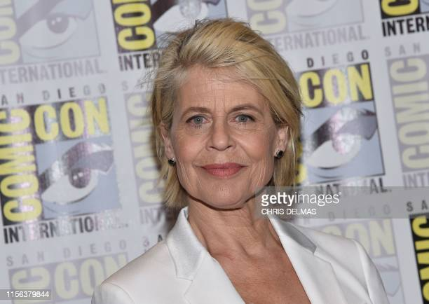 Actress Linda Hamilton arrives for the Terminator Dark Fate red carpet event at the Hilton Bayfront during Comic Con in San Diego California on July...