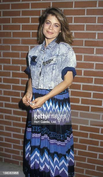 Actress Linda Hamilton attending 11th Annual Alpo Animal Celebrity Tour on August 30 1987 at Burbank Studio Ranch in Burbank California