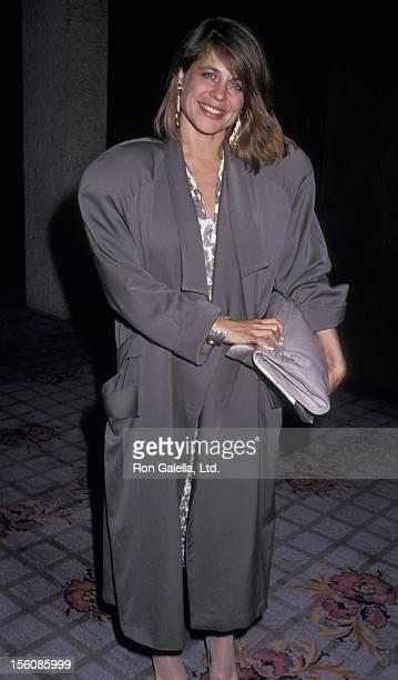 Actress Linda Hamilton attending 'CBS TV Affiliates Dinner' on May 20 1987 at the Century Plaza Hotel in Century City California