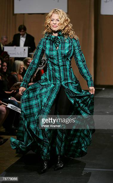 Actress Linda Hamilton walks the runway at Johnnie Walker's 'Dressed To Kilt 2007' fashion show at Capitale on April 2 2007 in New York City