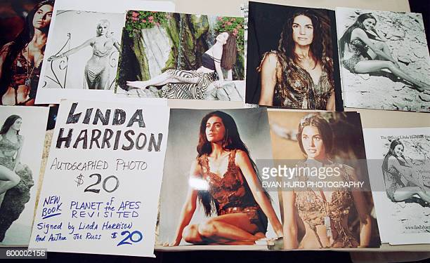 Actress Linda Harrison's autograph table at the Chiller Theatre Spring 2002 Exposition in East Rutherford New Jersey