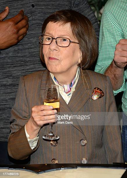 Actress Linda Hunt attends the CBS' NCIS Los Angeles celebrates the filming of their 100th episode held at Paramount Studios on August 23 2013 in...