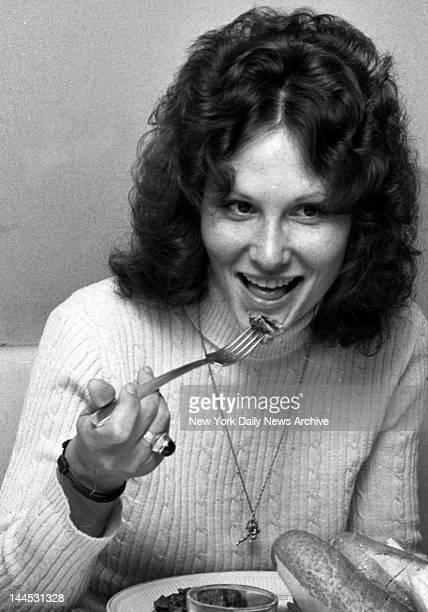 Actress Linda Lovelace aka Linda Susan Boreman being interviewed at Delsomma Restaurant 266 W 47 St NYC