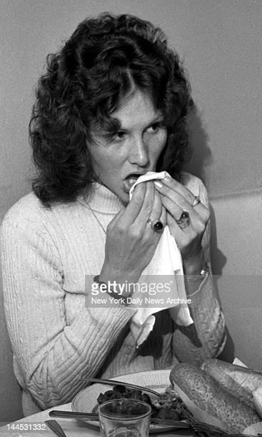 Actress Linda Lovelace aka Linda Susan Boreman being interviewed at Delsomma Restaurant, 266 W. 47 St., NYC.