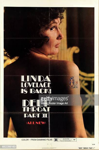 Image contains suggestive content.)Actress Linda Lovelace appears on a poster for the pornographic film 'Deep Throat Part II', written and directed...